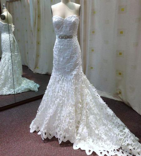 K1421 laser cut motif wedding dress