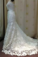 K1421 satin laser cut wedding gown with train