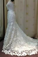 K1421 satin laser cut wedding gown with train