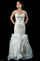 K3239 Art deco beaded wedding dress with rosette skirt