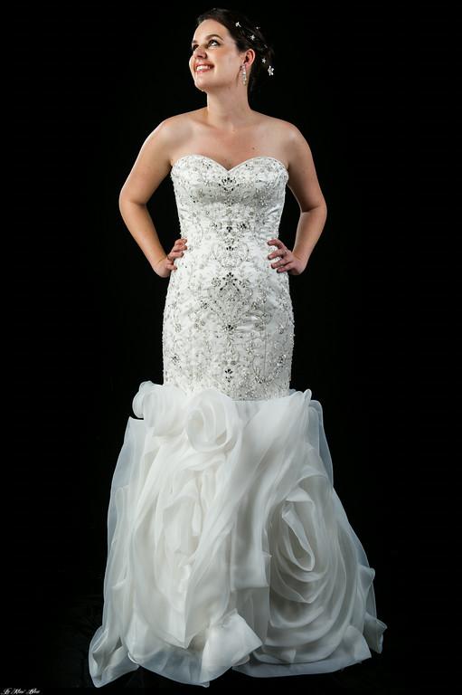 K3239 Art deco beaded wedding dress with rosette skirt