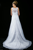 L1369 lace wedding dress with train