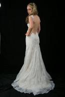 L1503 Vintage lace low back Wedding Dress