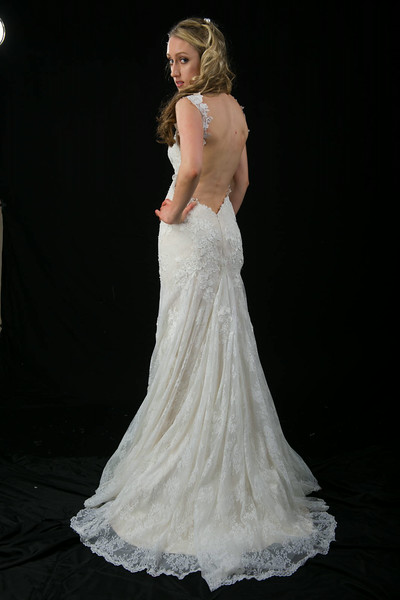 L1503 Vintage lace low back Wedding Dress