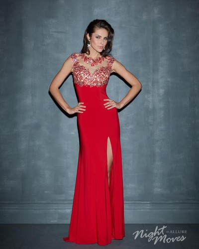 N7001 jersey evening dress
