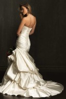 Allure 9071 satin mermaid wedding dress with beautiful train