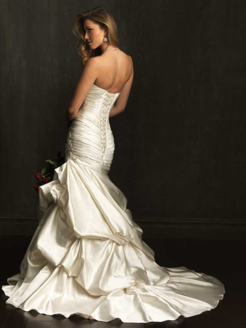 Allure 9071 satin mermaid wedding dress with beautiful train