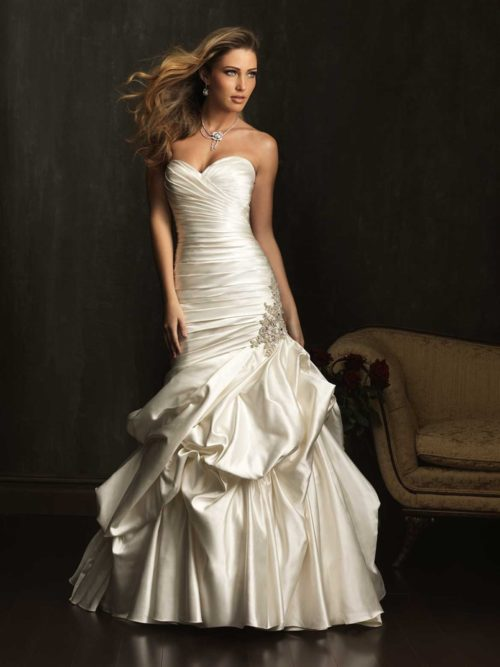 Allure 9071 satin ruched fitted bodice assymetric pick-up skirt mermaid wedding dress