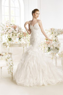 Avenue Diagonal PARNELA lace fitted bodice withfrilled skirt mermaid wedding dress