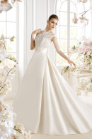Avenue Diagonal PATRIZZIA lace top satin A-line skirt wedding dress