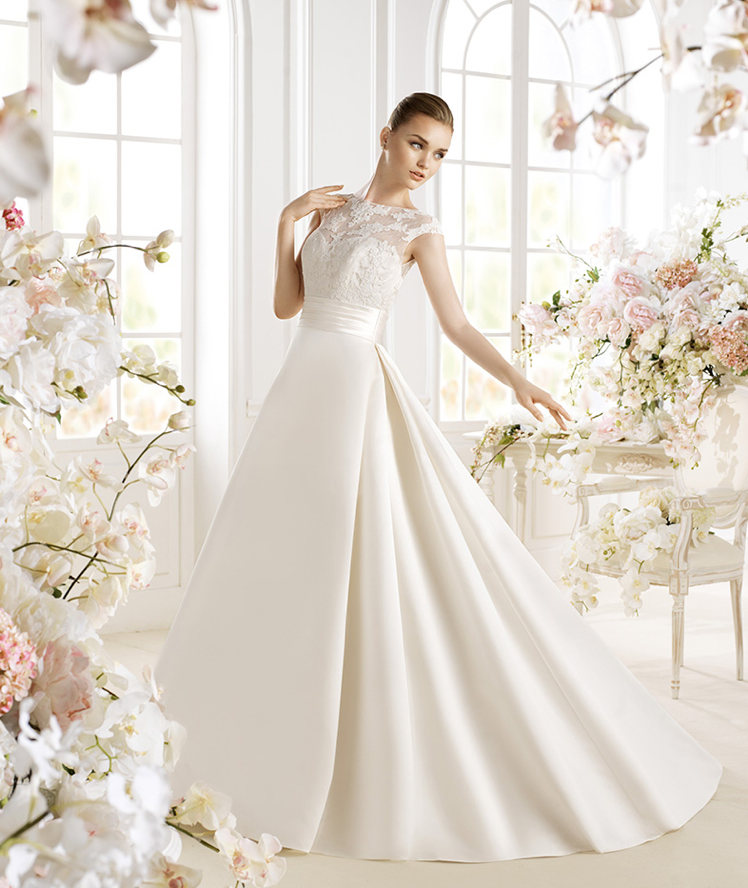 Avenue Diagonal PATRIZZIA Lace Top Satin A Line Skirt Wedding