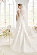 Avenue Diagonal PAYTAH V-back satin wedding dress with court train