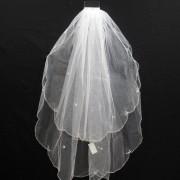 V284 2-tier scallop edge beaded veil
