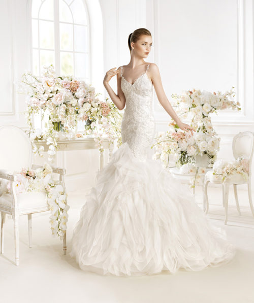 77c6dc53e838 KERRY tea length wedding dress with sleeves - Mon Belle Bridal