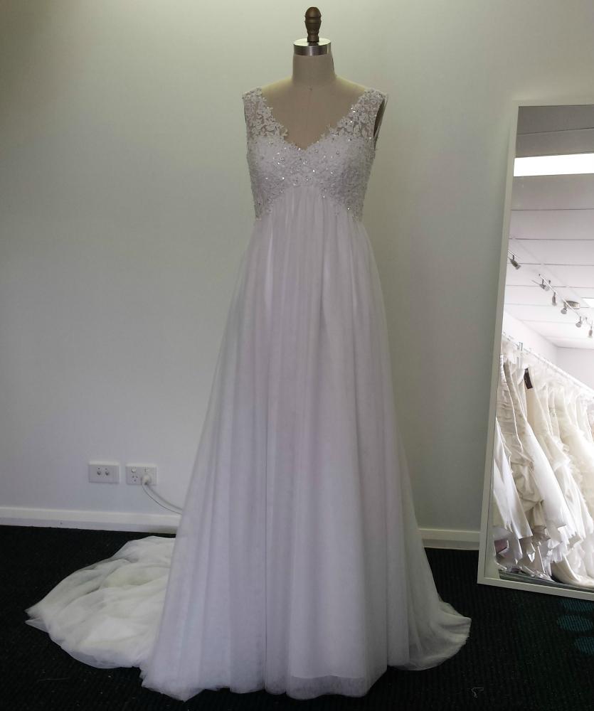 Custom design maternity beaded lace empireline maternity wedding dress LL1728