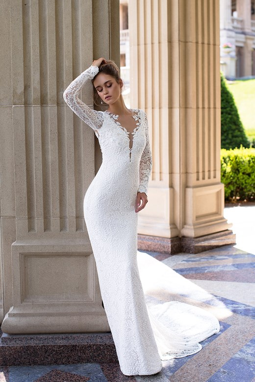 Long Sleeves Lace Slimfit Wedding Dress