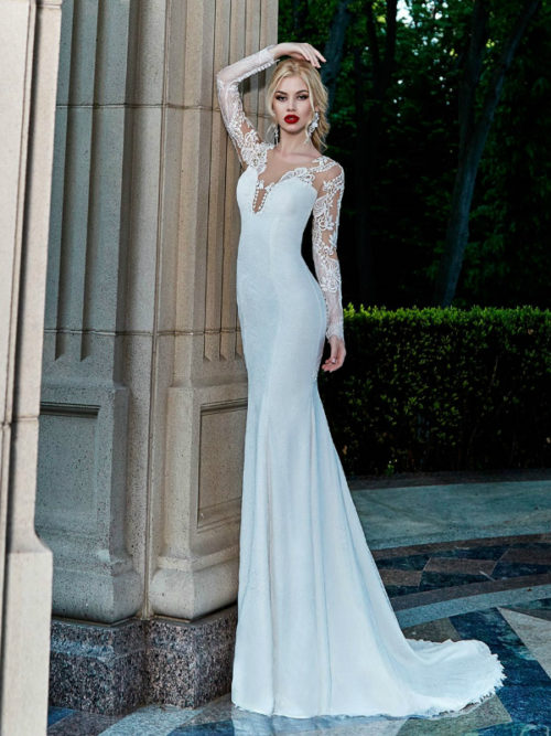 ID1001 Long Sleeves lace mermaid lace wedding dress