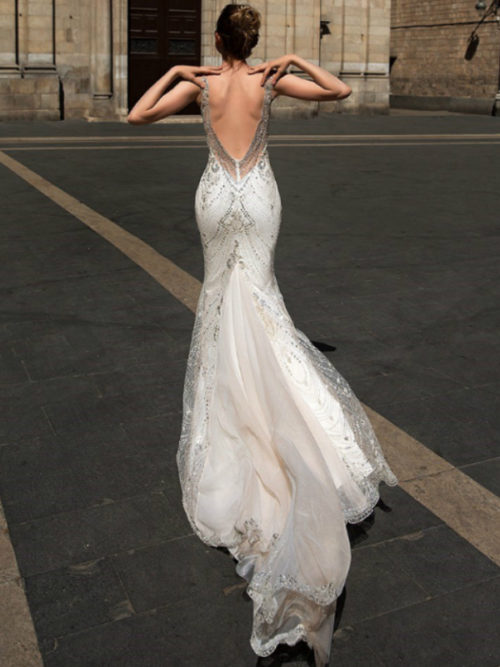 ID1141 low back beaded mermaid wedding dress with train