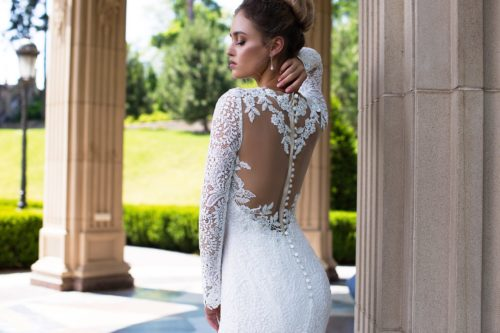 ID1798 illusion low back lace long sleeves wedding dress