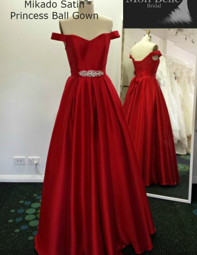 LL2920 drop sleeve mikado satin princess ball gown