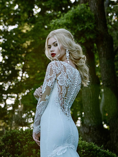 Long Sleeves Lace Wedding Dress beautiful illusion low back details