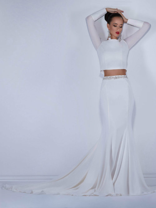 long sleeves elegant 2-piece wedding dress