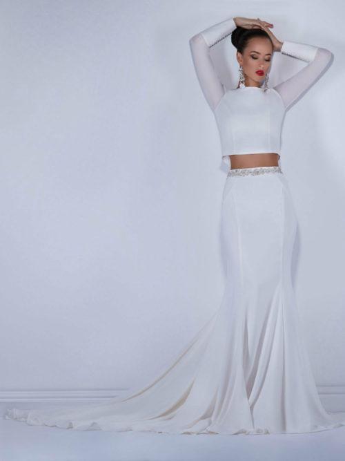 long sleeves elegant 2-piece wedding dress