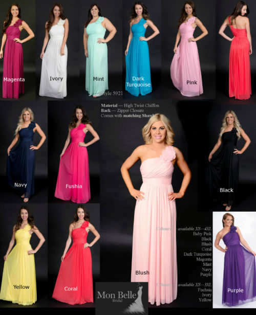 WA5921 floral motif 1-shoulder bridesmaid dresses colors
