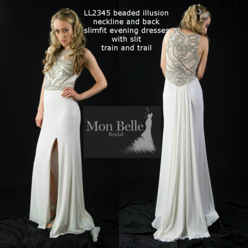 LL2345 beaded illusion neckline and back slimfit evening dresses with slit train and trail