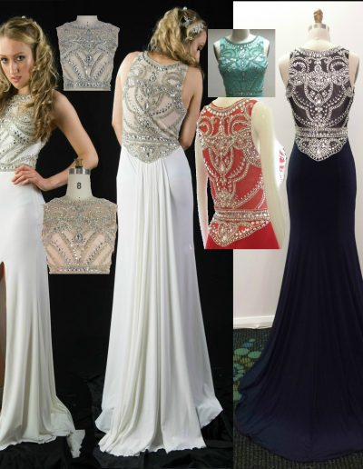 LL2345 custom color heavily beaded evening dresses