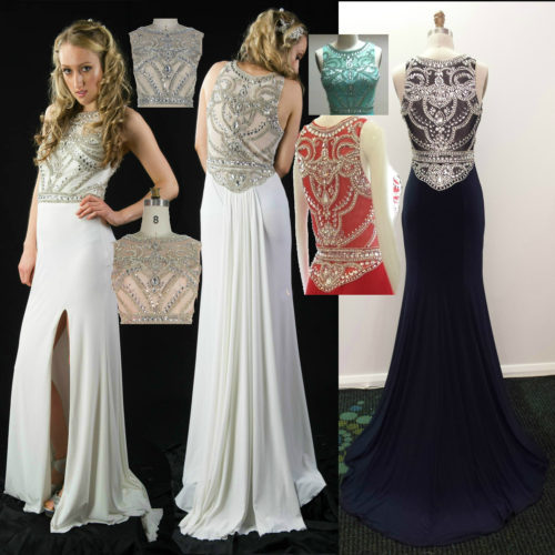 LL2345 custom color heavily beaded evening dresses