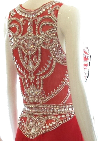 LL2345 heavily beaded illusion low back red evening dress