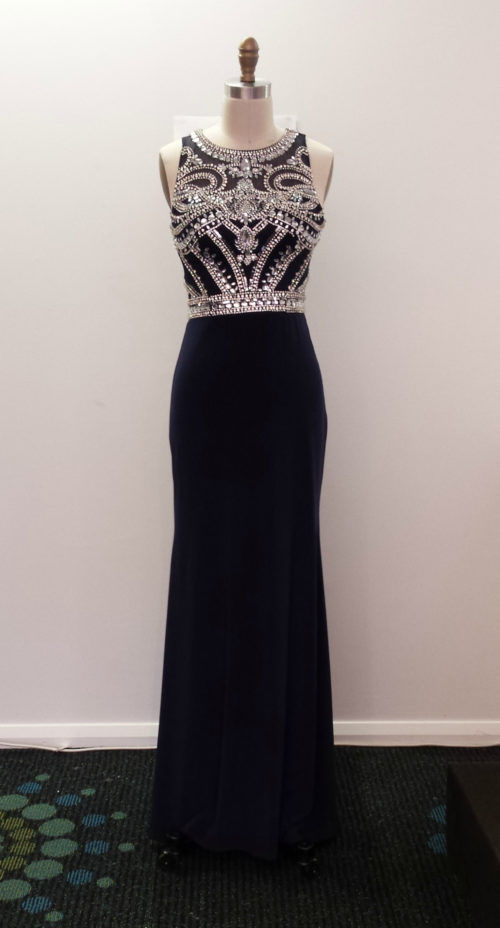 LL2435B Beaded slimfit jersey evening dress without slit