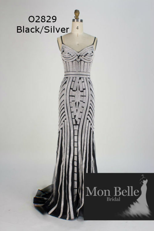 O2829 Black-Silver shimmery evening dress