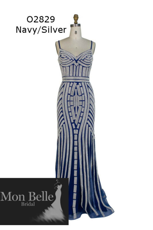 O2829 Navy-Silver shimmery evening dresses