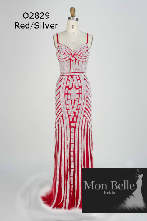 O2829 Red-Silver shimmery evening dress