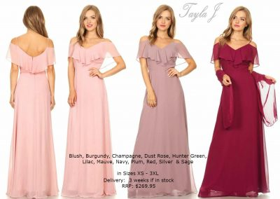 T3623 drop sleeves bridesmaid dresses