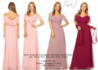 T3623 drop sleeves bridesmaid dresses