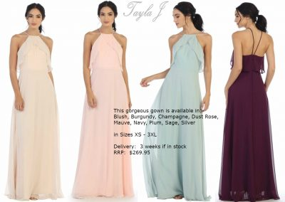 T5133 trendy modern halterneck bridesmaid dresses