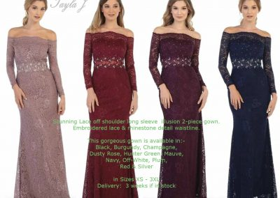 Wendy Ann T7823 drop long sleeves lace bridesmaid dresses