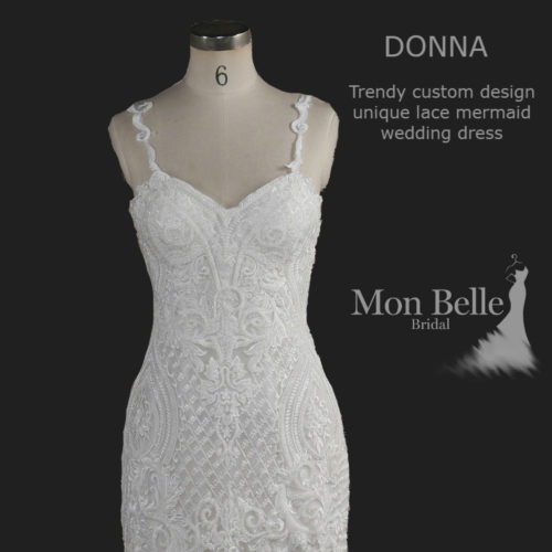 DONNA Trendy custom design unique lace mermaid wedding dress