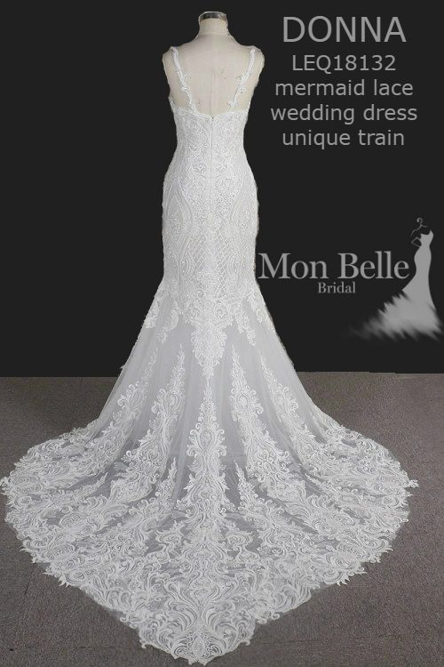DONNA mermaid lace wedding dress unique heart shape train