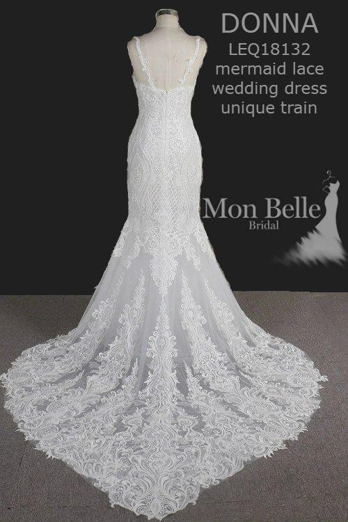 DONNA mermaid lace wedding dress unique heart shape train