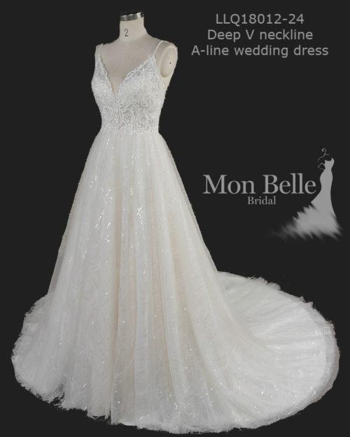 SASHA spaghetti straps beaded lace applique top sparkly A-line wedding dress