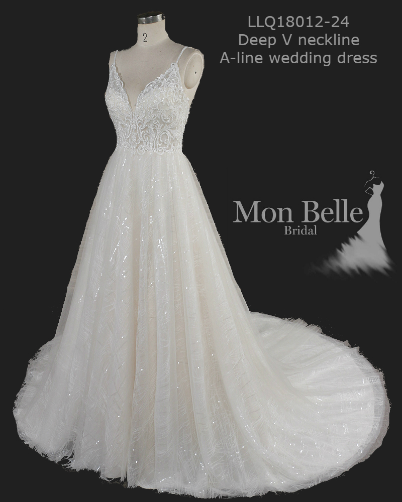 Sasha Deep V Neckline A Line Sparkly Lace Wedding Dress Mon Belle Bridal,Vera Wang Wedding Dresses 2019