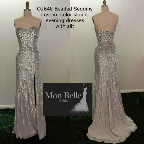 Beaded Sequins custom colors slimfit evening dresses with slit Perth O2648