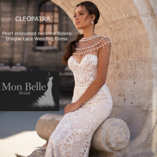 CLEOPATRA Pearl encrusted neckline Unique Lace Wedding Dress