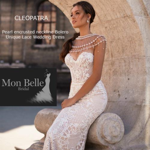 CLEOPATRA Pearl encrusted neckline Unique Lace Wedding Dress