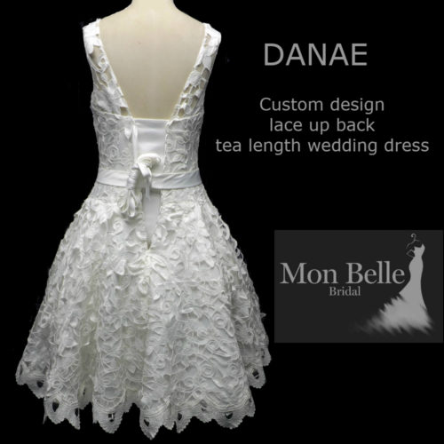 DANAE custom design lace up back tea length wedding dress
