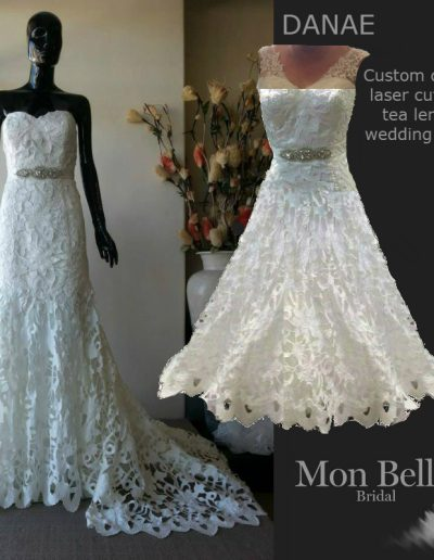 DANAE custom design unique lace tea length wedding dress